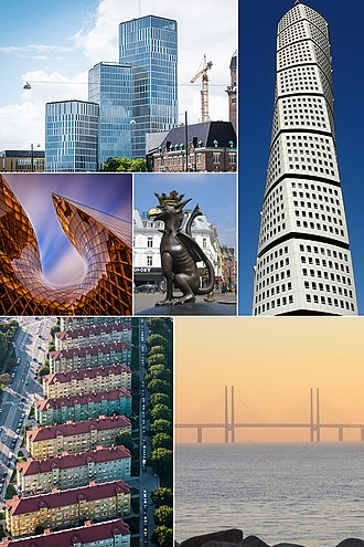 Malmö - From top left to right: Malmö Live, Turning Torso, Emporia, Griffin Sculpture, Lönngården 1950s apartments, and the Öresund Bridge
