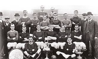 1908 FA Charity Shield - The Manchester United team posing with the trophy