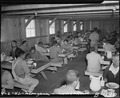 Manzanar Relocation Center, Manzanar, California. Lunchtime at Manzanar, a War Relocation Authority . . . - NARA - 536878.tif