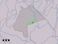The town centre (dark green) and the statistical district (light green) of Gasselte in the municipality of Aa en Hunze.