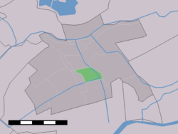 The village (dark green) and the statistical district (light green) of Bovenkerk in the former municipality of Vlist.