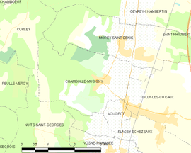 Mapa obce Chambolle-Musigny