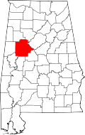 Map of Alabama highlighting Tuscaloosa County
