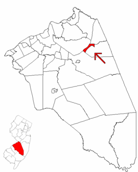 Map of Burlington County highlighting Wrightstown.png