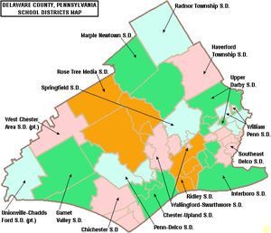Marple Newtown School District - Image: Map of Delaware County Pennsylvania School Districts