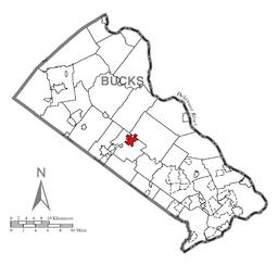 Location of Doylestown in Bucks County