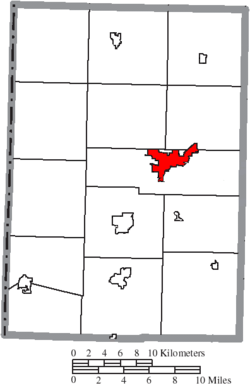 Location of Celina in Mercer County