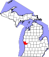 State map highlighting Muskegon County