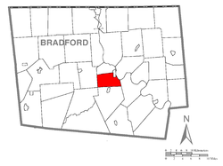 Map of Bradford County with Towanda Township highlighted
