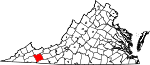 State map highlighting Smyth County