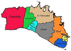 Mapa Menorca Municipis
