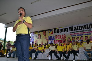 Mar Roxas - Roxas during a campaign rally of LP in Quezon City, February 17, 2016