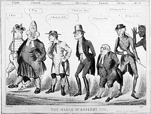 "Rogue (vagrant) - ""The March of Roguery"", an 1830 caricature by C. J. Grant (Charles Jameson Grant), based on the old British inn-sign of the ""Five Alls"" or ""Four Alls"". (This occurred in a number of variations, but usually included a monarch saying ""I rule (for) all"" or ""I govern all"", a bishop or minister saying ""I pray for all"", a soldier saying ""I fight for all"", and a farmer saying ""I pay for all""."