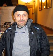 Marco Paolini dopo aver terminato lo spettacolo ITIS Galileo al Teatro Ponchielli di Cremona, 11 gennaio 2012