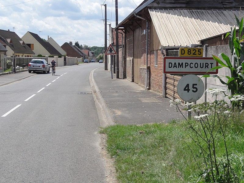 Marest-Dampcourt (Aisne) city limit sign Dampcourt