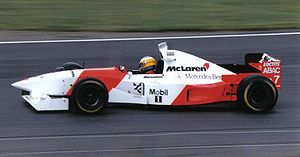McLaren MP4/10 - Mark Blundell driving the MP4/10B at the 1995 British Grand Prix.