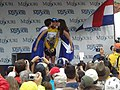 Mark Cavendish get kisses in Kansas City.jpg