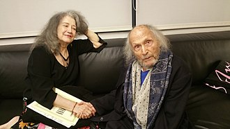 Ivry Gitlis - Gitlis (aged 96) with pianist Martha Argerich, after a joint performance at the Israel Philharmonic, Tel Aviv, 2018.