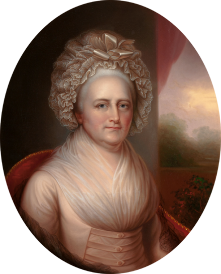 Martha Washington by Rembrandt Peale, circa 1856, based on a portrait by his father, Charles Willson Peale Martha Washington by Rembrandt Peale c1856.png