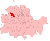 Marylebone East in the London County area, showing boundaries used for 1910