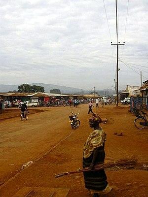 Masindi - Market Street Masindi on a Sunday morning
