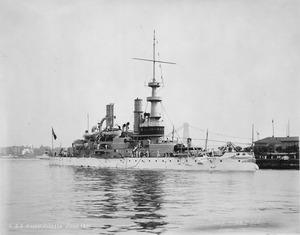 Massachusetts (BB2). Starboard bow at wharf, 06-1901 - NARA - 535432