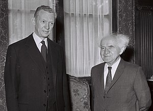 France–Israel relations - French foreign minister Maurice Couve de Murville with Ben-Gurion