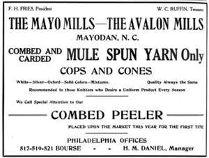 Avalon, North Carolina - Mayo-Avalon Mills Advertisement from 1910