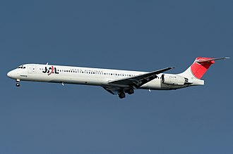 McDonnell Douglas MD-90 - Japan Airlines MD-90-30 on final approach at Tokyo Haneda Airport