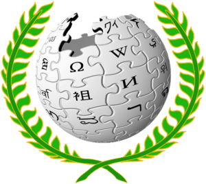 Logo of the Mediation Committee, depicting the Wikipedia globe logo within a laurel