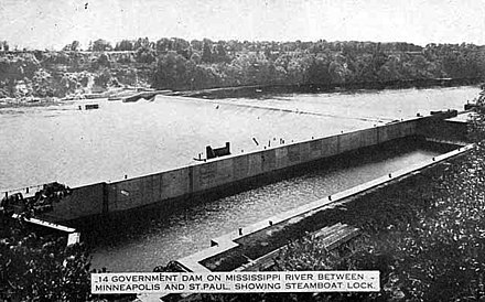 The Meeker Island Lock and Dam was the first lock and dam on the Mississippi River in 1902.