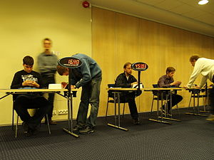 Speedcubing - Speedsolvers solving Megaminxes at the 2011 Estonian Open.