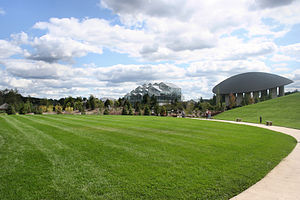 Frederik Meijer Gardens & Sculpture Park - Conservatory, Amphitheater, and surrounding landscape.