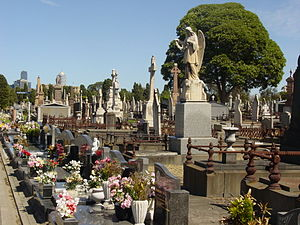 Melbourne General Cemetery - Characteristic headstones and grave sites within the cemetery