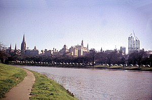 Melbourne's skyline in 1959, along the Yarra R...
