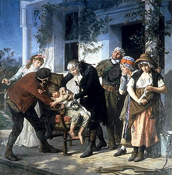 Depiction of the vaccination by James Phipps, lithograph by Gaston Mélingue (around 1894)