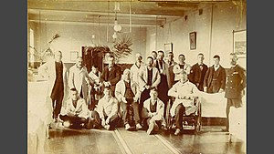 Medical Assistant (Royal Navy) - Members of the Royal Navy Sick Berth Branch (with patients), formed in 1884.