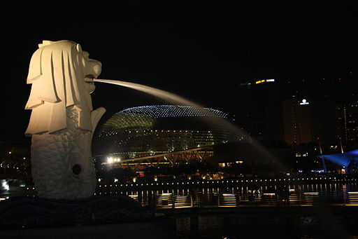Merlion at night