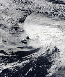 Satellite image of Michael as a hurricane-force extratropical cyclone on October 13