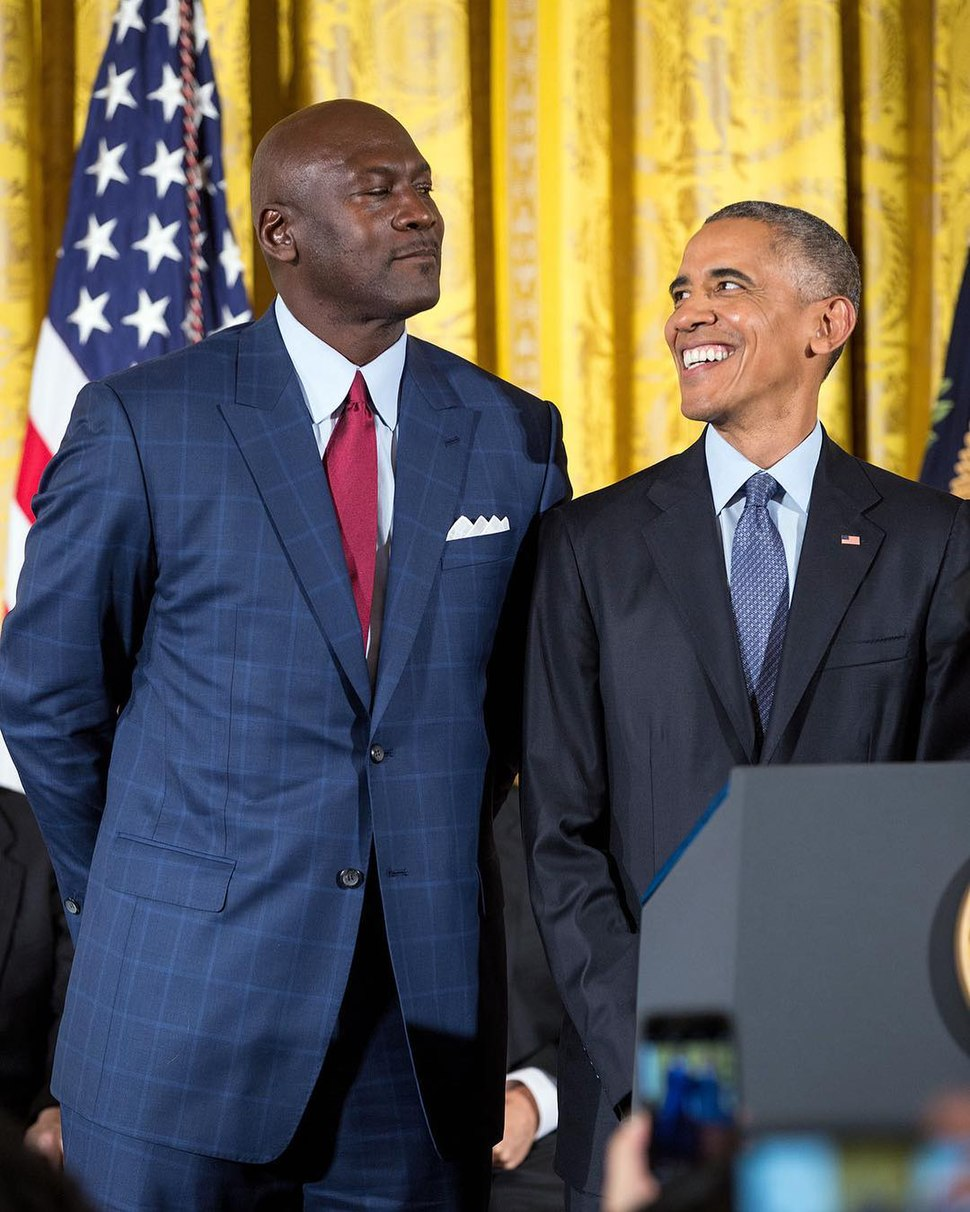 Michael Jordan and Barack Obama at the White House