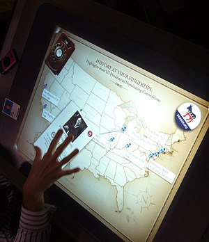 Microsoft Surface showing the history of USA p...