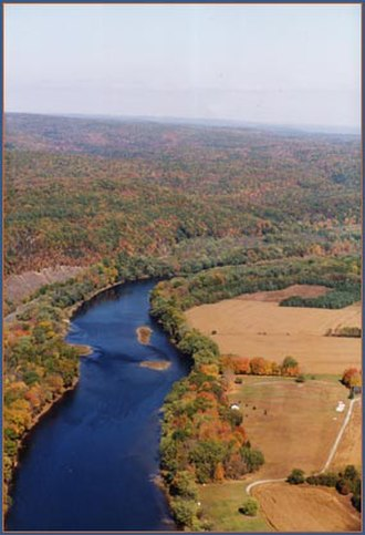 Marcellus Formation - Delaware River above Walpack Bend, where it leaves the buried valley eroded from Marcellus Shale bedrock