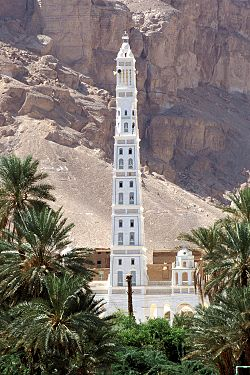 The minaret of the Al Muhdhar Mosque at Tarim is 53 metres (175 ft) high, and recognized to be one of the tallest earth structures in the world.