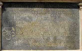 Banská Štiavnica - Academy of Mining and Forestry memorial plaque.