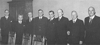 War-responsibility trials in Finland - From the left: Henrik Ramsay, Tyko Reinikka, Antti Kukkonen, Edwin Linkomies, J.W. Rangell, Risto Ryti, Väinö Tanner and T.M. Kivimäki.