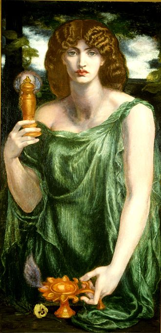 Mnemosyne - Mnemosyne (aka Lamp of Memory or Ricordanza) by Dante Gabriel Rossetti (c. 1876 to 1881)