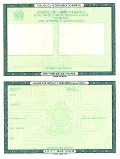 Brazilian identity card identity document of Brazil