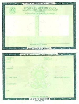 Brazilian identity card - Image: Modelo da nova carteira de identidade brasileira
