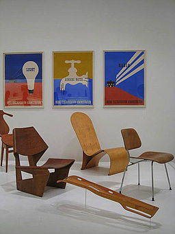 Modern furniture and a leg splint, via Wikimedia Commons