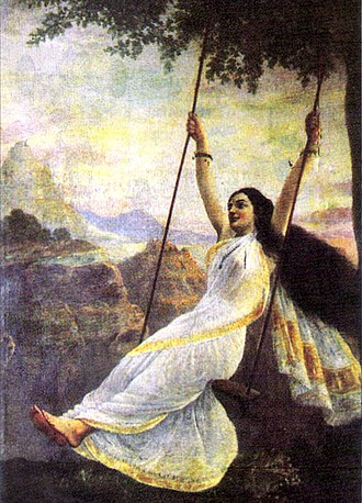 "Mohini - Shiva sees ""Mohini on a swing"" (1894 by Raja Ravi Varma). The painter suggests her seductive nature by showing her torso peeping through her sari."